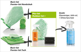Fenster-Set Handschuh Art.Nr. 7220 oder Fenster-Set Tuch Art.Nr. 7215 zusammen mit Outdoor-Set+ Art.Nr. 7252  -->  Gratis Glasreiniger 500-ml-Flasche + Schaumpumpe im Wert von CHF 9.70