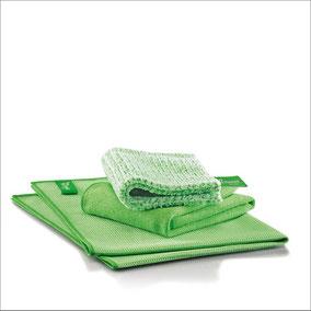 Fenster-Set Tuch Art.Nr. 7215 • DuoTuch 18x24 cm, grüne Faser • Profituch Plus M 40 x 45 cm, grün • Trockentuch mittel 45x60 cm, grün • inkl. Klickbox