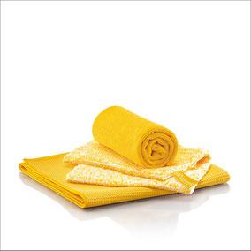 Küchen-Set Tuch Art.Nr. 7361 • DuoTuch 18x24 cm, gelbe Faser • Profituch Plus M 40x45 cm, gelb • Trockentuch mittel 45x60 cm, gelb • inkl. Klickbox