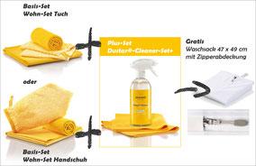 Wohn-Set Handschuh Art.Nr. 7362 oder Wohn-Set Tuch Art.Nr. 7361 zusammen mit Dustar®-Cleaner-Set+ Art.Nr. 5086 -->  Gratis Waschsack 47 x 49 cm mit Zipperabdeckung im Wert von CHF 16.90