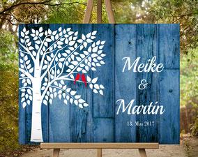 Holz Effekt Gästebuch wedding tree Hochzeitsbaum  zur Hochzeit, Geburt, Taufe, Goldene Hochzeit