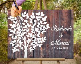 Holz Effekt Gästebuch wedding tree Hochzeitsbaum  zur Hochzeit, Geburt, Taufe, Goldene Hochzeit.