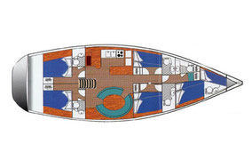 Segeltörn Grundriss Ocean Star 56.1 Segelreise ab Kos