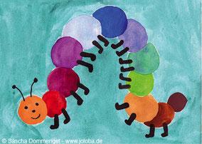 Joloba Berlin Friedrichshain Sascha Dommenget Kunst Postkarten Tiere Malerei Radierungen Aquarell Raupe