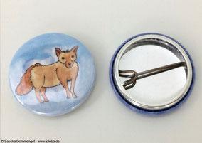 Joloba Berlin Friedrichshain Sascha Dommenget Kunst Button Broschen Tiere Zeichnungen Tusche Bleistift Aquarell Tiere Fuchs