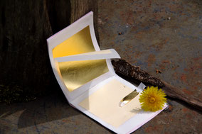 Blattgold, Blattkupfer, Vergoldung, Platin, Jahres-Ringe, Jahresringe, Holzmesserblock vergoldet