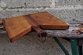 Edles Küchenbrett aus recyceltem Altholz und Blattgold, Servierbrett aus Holz, Servierbretter aus Holz