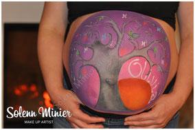 femme enceinte ventre belly painting solenn minier arbre de vie oiseau fleur papillon