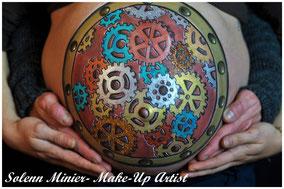 femme enceinte ventre belly painting solenn minier horloge