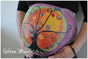 femme enceinte ventre belly painting solenn minier arbre de vie