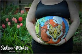 femme enceinte ventre belly painting solenn minier renard