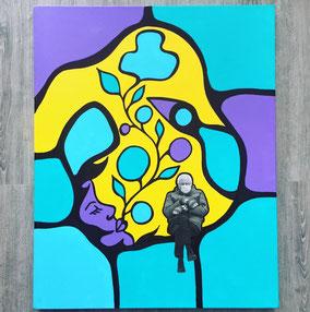 Peinture colorée du peintre autochtone Blake Angeconeb