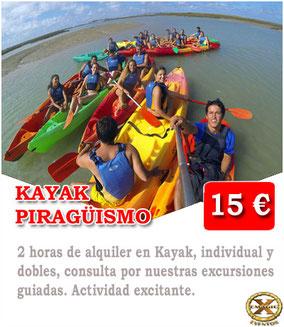 alquiler de kayak en Conil de la frontera
