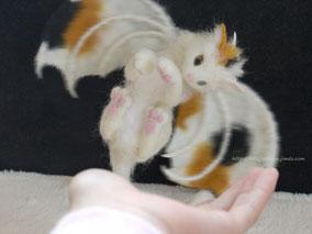 羊毛フェルト ねこ ドラゴン 三毛猫