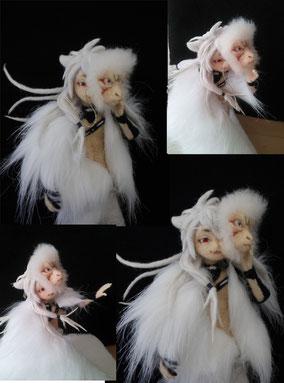 羊毛フェルト 小狐丸 猿面 人形