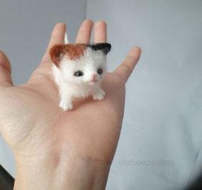羊毛フェルト 猫 手乗り 植毛