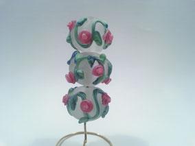 Rosenranken weiss matt Rundperlen