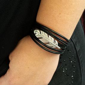 PLUME-  bracelet cuir paillettes noires bracelet femme bracelet plume fait main