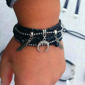 Bracelet multi tours plumes et demi lune corne, fait main en France