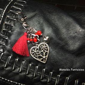 porte clé coeur, porte clé pompon, fait main en France