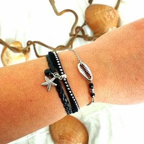 Bracelet cauri et perles noires, bracelet mini manchette étoile de mer fait main en France