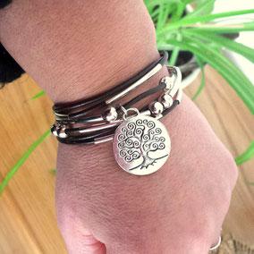Bracelet LAGO en cuir noir, paillettes, bracelet femme, fait main en France