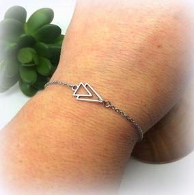 Bracelet graphique AXEL triangle minimaliste argent fait main en France