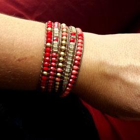 Bracelet wrap RUBY rouge doré tendance automne hiver 2017 bassin d'Arcachon
