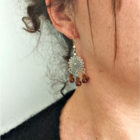 Boucles d'oreilles ethnique argent nouria fait main