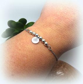 Bracelet YOGA AXEL perle minimaliste argent fait main en France