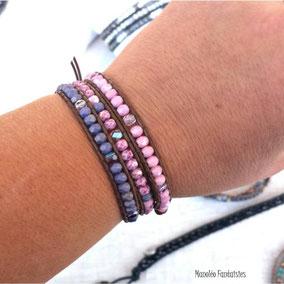 Bracelet wrap MAHE 3 tours cuir et perles  rose et parme, fait main en France