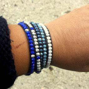 Bracelet wrap azur bleu tendance automne hiver 2017 bassin d'Arcachon cuir perles bracelet femme idee cadeau noel