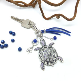 porte cle tortue porte clé argent  fait main en France
