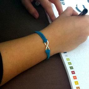 Bracelet INFINI turquoise, fait main en France