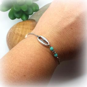 Bracelet CAURI fin argent coquillage minimaliste fait main