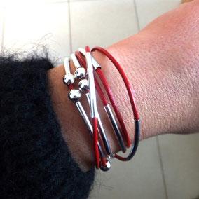 Bracelet transformable et personnalisable YOU tendance automne hiver 2017 bassin d'Arcachon cuir perles bracelet femme idee cadeau noel