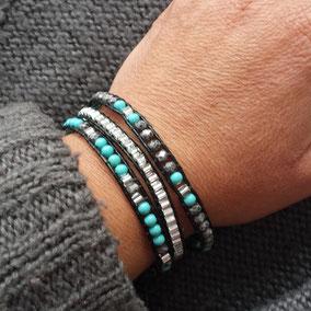 Bracelet wrap Iceberg cuir et perles gris turquoise fait main en France