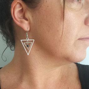 Boucles d'oreilles argent graphique triangle isis fait main