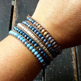 Bracelet wrap manchette wilan perles bleu cuir marron boho tendance automne hiver 2017 bassin d'Arcachon