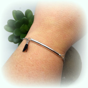 NOLAN - Bracelet fin, bracelet bohème, bracelet pompon, bracelet perle, bracelet argent, bracelet fait main