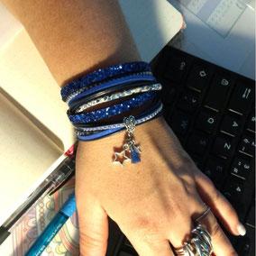 Vega - bracelet pompon, bracelet femme, bracelet etoiles et pompon, fait main en France