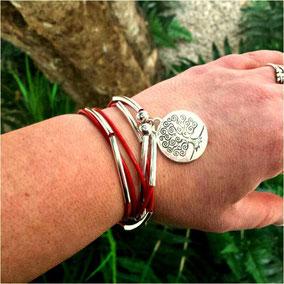 Bracelet FAMILLE et son arbre de vie, en cuir, transformable en collier et personnalisable, fait main en France
