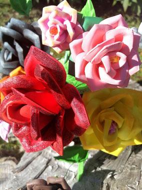 Bouquet de roses en papier mousse