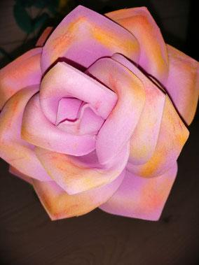 Rose en papier mousse rose orangé