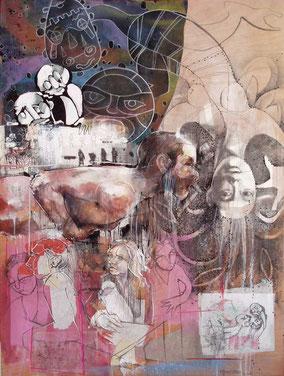 «Intime - Elles pensent, douche renversante » 120x90cm, 2014