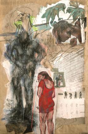 «Douche, envol, homme » 225x150cm, 2014