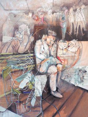 « Douche, en«Gare, femme sur banc et passage »  120/180cm, 2013