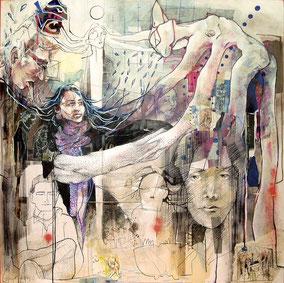 «Intime - De l'ordre du privé, salle d'eau » 100x100cm, 2014