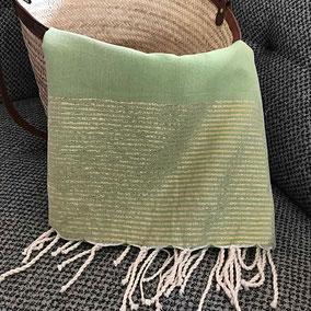 Fouta de plage coton tunisienne serviette de plage lurex doré argenté