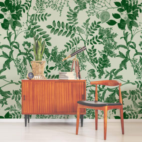 copper engraved leaves in green shades, exclusive and individual design for interiors by MADEMOISELLE CAMILLE